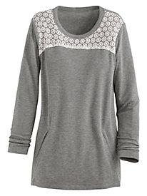 Lace Trim Waffle Sweatshirt