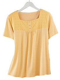 Eyelet Trim Square Neck Tee