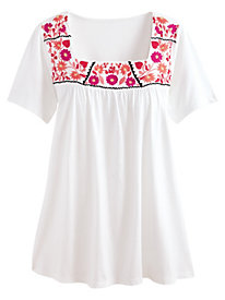 Embroidered Top With Square Neckline