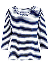 Striped & Embroidered Tee