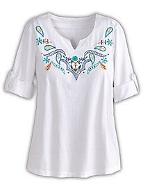 Notched neck Embroidered Tee