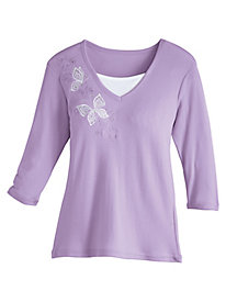 Lacy Butterfly Appliqué Top