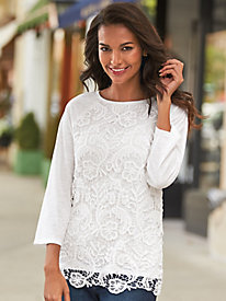 Raglan Sleeve Lace-Front Top