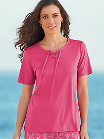 Tie Front Short-Sleeve Top