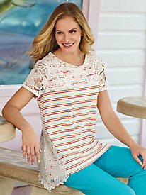 Striped Tee With Lace Trim
