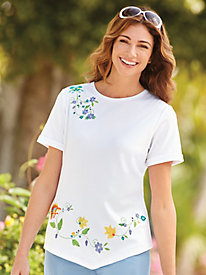 Embroidered V-Hemline Top
