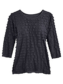 Three-Quarter Sleeve Ruffle Top