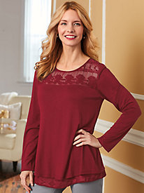 Chiffon Embroidered Yoke Top