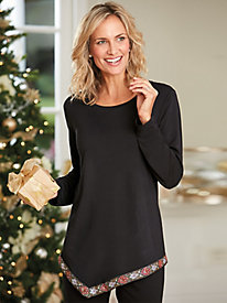Asymmetrical Brocade Hem Top