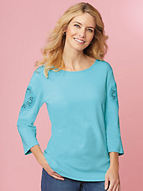Lace Accented Sleeve Tee