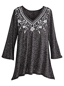 One World® Puff Print V-Neck Top