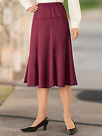 Drop-Yoke Ponté Knit Skirt