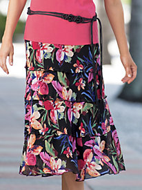 Flowing Floral Chiffon Skirt with Belt