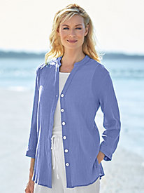 Crinkle Button-Front Shirt
