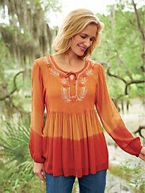 Embellished Empire Waist Peasant Top