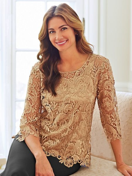 7823da0e2ec1b Metallic Crochet Lace Top