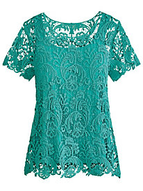 Short-Sleeve Crochet Lace Top
