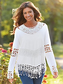 V-Hemline Shirt With Crochet Hem