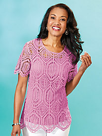Short-Sleeve Crochet Top