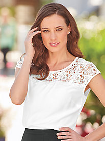 Lace Yoke Cap Sleeve Top