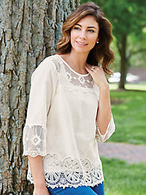Three-Quarter Length Sleeve Lace Top