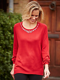 Jeweled Neckline Sweater