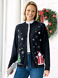 Holiday Zip-Front Cardigan