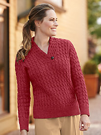 Wrap Neckline Cable Knit Sweater