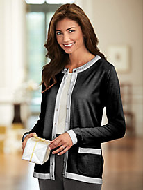 Pearl Trim Button-Front Cardigan
