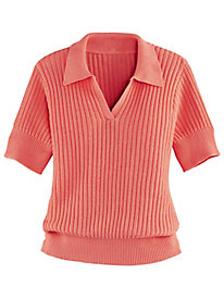 Ribbed Polo with Banded Bottom