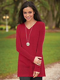 Horizontal Textured V-Neck Tunic