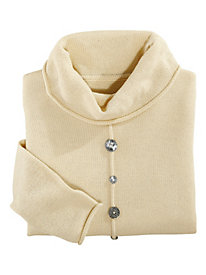 Lurex Cowl Neck Sweater With Button Detail