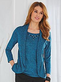 Jeweled-Neck Layered-Look Sweater