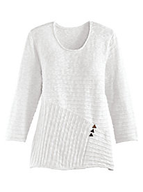 Button Accented Textured Sweater