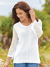 Pointelle & Crochet V-Neck Sweater
