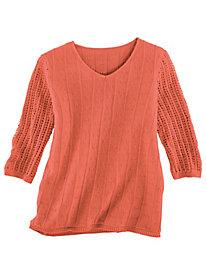 Pointelle & Crochet V-Neck Sweater