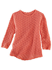 V-Hemline Crochet Sweater