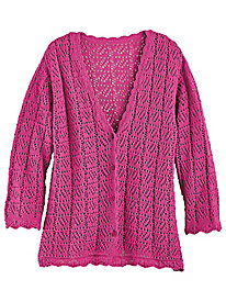 Three-Quarter Length Sleeve Crochet Cardigan