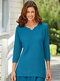 Scramble Stitch Notched-Neck Tunic
