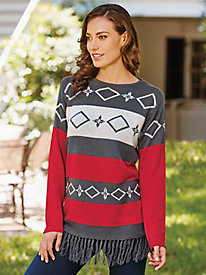 Fringed Pattern Sweater