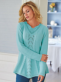 Butterfly Lace Yoke Sweater