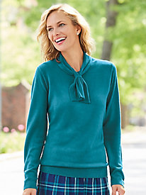 Fine-Gauge Tie Neck Sweater