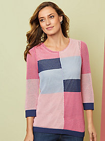 Colorblock Open Stitch Sweater