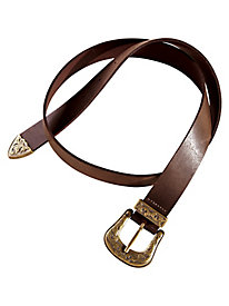 Leather Belt With Western-Inspired Buckle