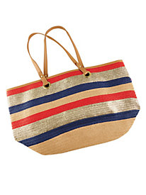 Striped Shoulder Tote