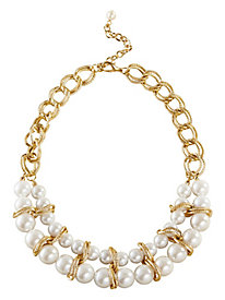 Goldtone And Faux Pearl Necklace
