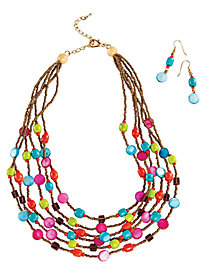 Colorful Beaded Multi Strand Necklace Set by Bedford Fair