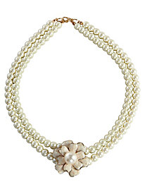 Double Strand Pearl Necklace With Flower