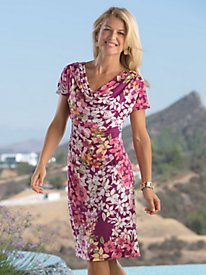 Flowers are Blooming Print-Cowlneck Dress