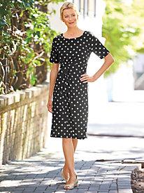 Dotted Faux-Wrap Dress